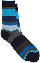 Barneys New York Men's Variegated-Stripe Cotton-Blend Mid-Calf Socks
