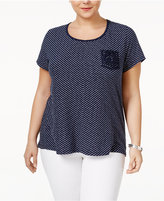 Style&Co. Style & Co Plus Size Crochet-Trim High-Low Top, Created for Macy's