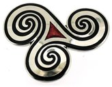 PYNK JEWELLERY Celtic Dancing Triskele Brooch Red Enamel and Silver