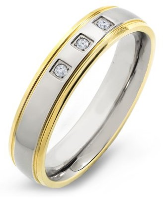 Coastal Jewelry Gold Plated Titanium 0.05 CTW Diamond Grooved Ring (H-I, SI2)