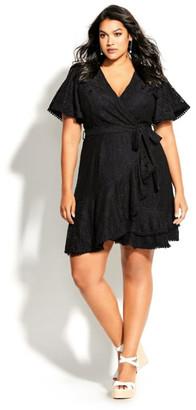 City Chic Sweet Love Lace Dress - black