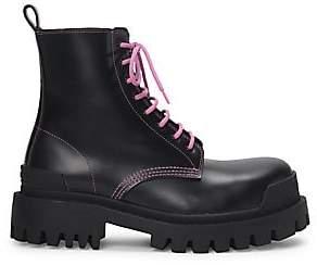 Balenciaga Women's Strike Leather Combat Boots