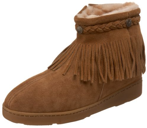 Minnetonka Women's Sheepskin Fringe Ankle Boot
