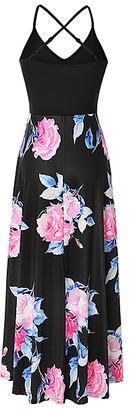 La Mode Women's Maxi Dresses Pink&Black - Blue & Pink Floral V-Neck Crisscross-Back Hi-Low Dress - Women & Plus