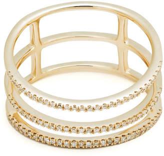 Casa Reale 14k Yellow Gold Three-Row Diamond Band Ring, Size 7