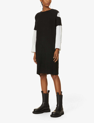Y's Cut-out shoulder wool and cotton midi dress