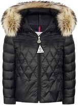 Moncler Navy Down Padded Byron Coat With Fur Trim