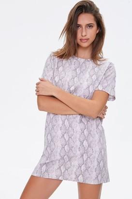 Forever 21 Snake Print T-Shirt Dress
