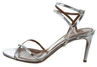 Aquazzura Metallic Leila 75 Sandals