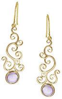ADI Paz Gemstone Scroll Design Dangle Earrings 14K Gold