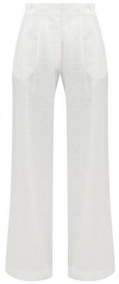 Asceno - Rivello Pleated Linen Wide-leg Trousers - Womens - White