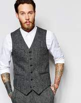 Asos Slim Vest In Gray Harris Tweed 100% Wool