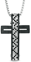 Zales Men's Brushed Cross Pendant in Stainless Steel with Black Ion-Plate - 24""