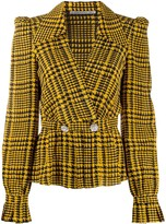 Alessandra Rich crystal-embellished houndstooth blouse
