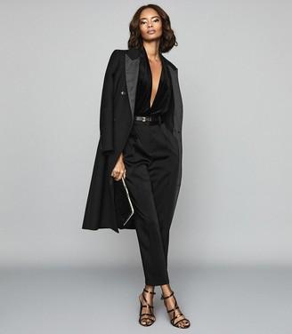 Reiss Rosalba - Long Sleeved Velvet Bodysuit in Black