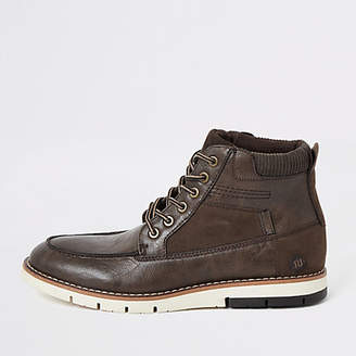 River Island Dark brown lace up faux leather boots