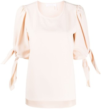 See by Chloe Puff-Sleeves Round-Neck Blouse