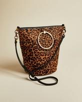 Ted Baker Circular Handle Leopard Print Bucket Bag