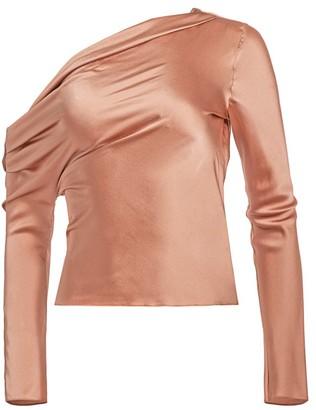 Cushnie One-Shoulder Silk Top