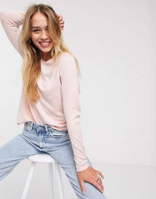 Only Mia lacy long sleeve jumper in pink