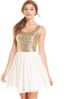 B. Darlin Juniors' Sequin Pleated A-Line Dress