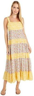 BB Dakota Mixed Company Print Bubble Crepe Midi Dress (Lemon Drop) Women's Dress