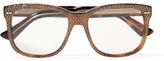 Gucci Crystal-embellished Square-frame Acetate Optical Glasses - Bronze