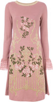 Alberta Ferretti floral embroidered and lace trim sweater dress