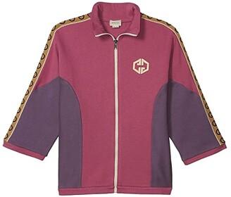 Gucci Kids Felted Cotton Jersey w/ GG Trim Zip Sweatshirt (Little Kids/Big Kids) (Petal/Purple) Girl's Clothing