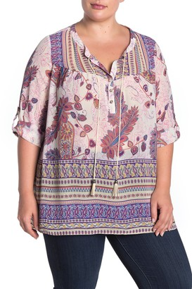 Dr2 By Daniel Rainn Roll Sleeve Border Print Blouse (Plus Size)