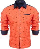Hasuit Print Mens Fashion Long Sleeve Casual Button Down Shirt