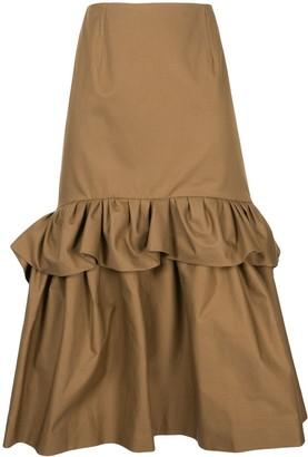 DELPOZO Ruffle-Trimmed Flared Midi Skirt