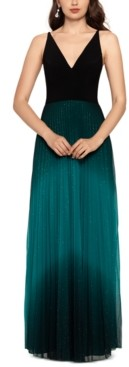 Betsy & Adam Petite Pleated Glitter-Skirt Gown