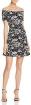 Aqua Mini Floral Textured Off the Shoulder Dress - 100% Exclusive