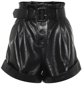Self-Portrait Belted faux-leather shorts