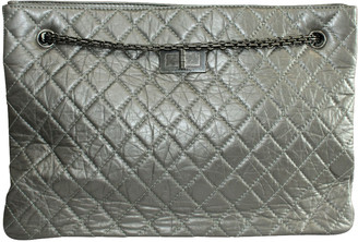 Chanel Grey Quited Leather Metallic Reissue 2.55 Bag