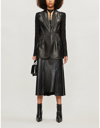 Alexander McQueen Lace-panelled leather jacket