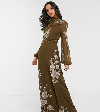 Asos Tall DESIGN Tall high neck embroidered maxi dress-Green