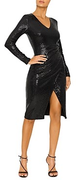 Black Halo Miramar Sequin Faux-Wrap Sheath Dress