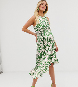 Queen Bee Maternity high neck midaxi dress in green leaf print