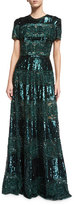 Elie Saab Short-Sleeve Embellished Cocktail Gown, Bottle