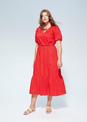 MANGO Violeta BY Ruffled midi dress red - 10 - Plus sizes