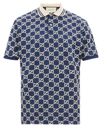 Gucci Gg-monogram Embroidered Cotton-blend Polo Shirt - Mens - Blue