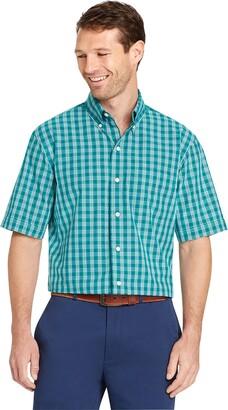 Arrow 1851 Mens Big and Tall Hamilton Poplin Short Sleeve Plaid Button Down Shirt