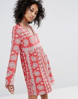 Honey Punch V Neck Swing Dress In Paisley Print With Tie Up Back