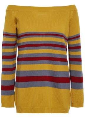 Valentino Off-the-shoulder Striped Cashmere Sweater