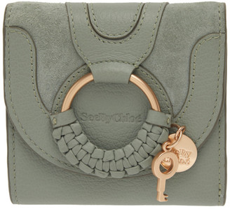 See by Chloe Green Suede Hana Square Wallet