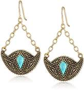 Barse Village Turquoise Bronze-Color Crescent Drop Earrings