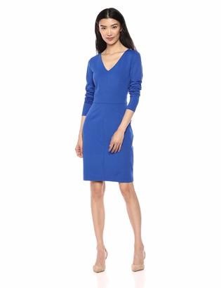 Lark & Ro Amazon Brand Women's Long Sleeve V-Neck Paneled Waist Sheath Dress
