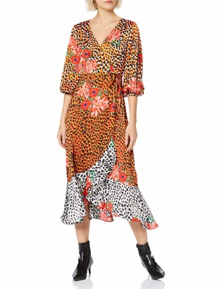 Liquorish Women's Three Tones Animal Mix Floral Printed Wrap Midi Dress with Balloon 3/4 Length Sleeves